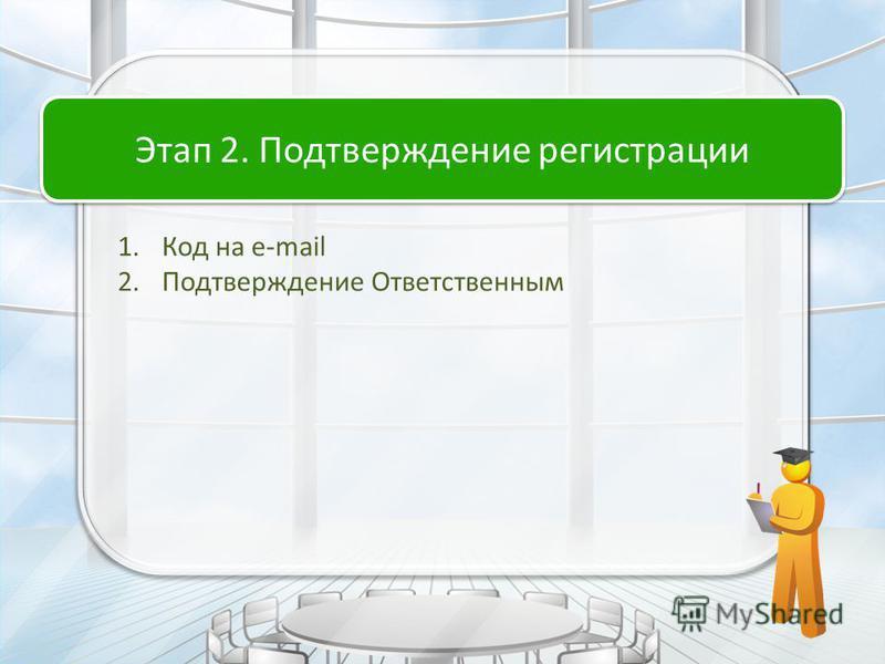 1. Код на e-mail 2. Подтверждение Ответственным Этап 2. Подтверждение регистрации