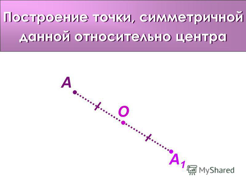 Построение точки, симметричной данной относительно центра O A A1A1