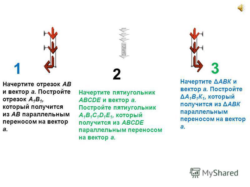 1 2 3 Начертите отрезок АВ и вектор a. Постройте отрезок А 1 В 1, который получится из АВ параллельным переносом на вектор a. Начертите ΔАВК и вектор a. Постройте ΔА 1 В 1 К 1, который получится из ΔАВК параллельным переносом на вектор a. Начертите п