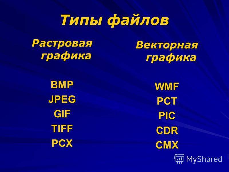 Типы файлов Растровая графика BMPJPEGGIFTIFFPCX Векторная графика WMFPCTPICCDRCMX