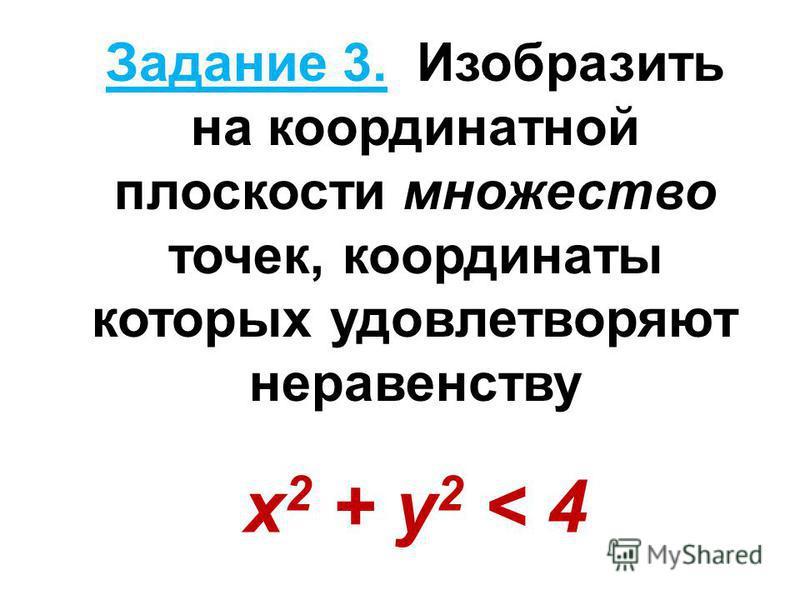 Задание 3. Изобразить на координатной плоскости множество точек, координаты которых удовлетворяют неравенству х 2 + y 2 < 4