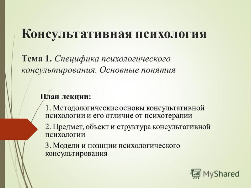 Консультативная психология Тема 1. Специфика психологического консультирования. Основные понятия План лекции: 1. Методологические основы консультативной психологии и его отличие от психотерапии 2.Предмет, объект и структура консультативной психологии