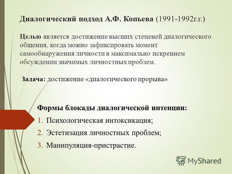 Диалогический подход А.Ф. Копьева (1991-1992 г.г.) Целью является достижение высших степеней диалогического общения, когда можно зафиксировать момент само обнаружения личности в максимально искреннем обсуждении значимых личностных проблем. Задача: до