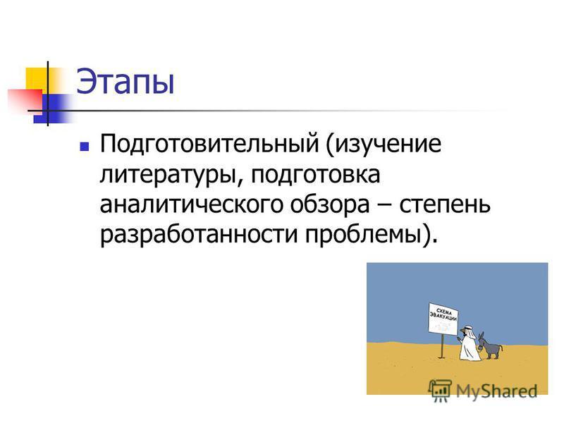 Этапы Подготовительный (изучение литературы, подготовка аналитического обзора – степень разработанности проблемы).