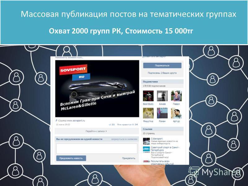 Массовая публикация постов на тематических группах Охват 2000 групп РК, Стоимость 15 000 тк