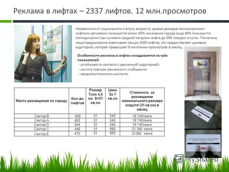 Реклама в лифтах – 2337 лифтов. 12 млн.просмотров Независимо от социального статуса, возраста, уровня доходов пассажирскими лифтами регулярно пользуются около 60% населения города (еще 40% пользуются эпизодически) при условии средней загрузки лифта д