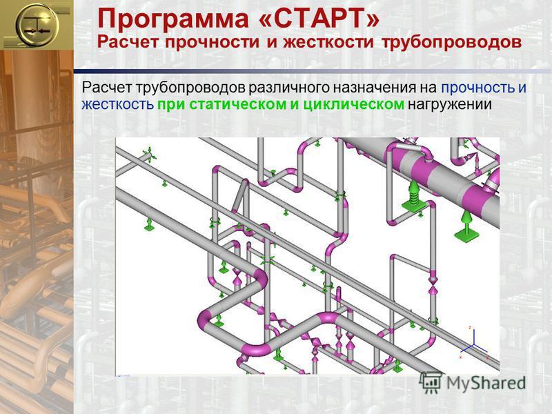Программа «СТАРТ» Расчет прочности и жесткости трубопроводов Расчет трубопроводов различного назначения на прочность и жесткость при статическом и циклическом нагружении
