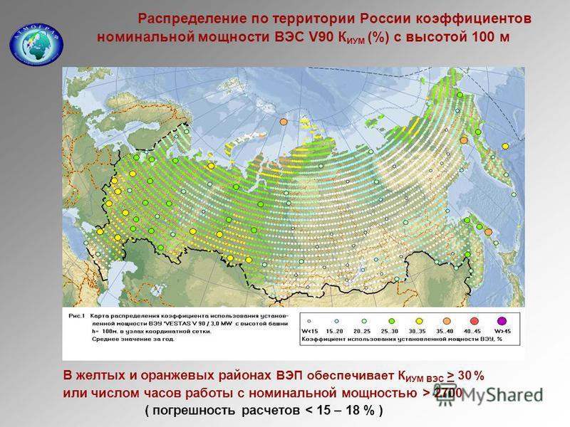 Распределение по территории России коэффициентов номинальной мощности ВЭС V90 К ИУМ (%) c высотой 100 м В желтых и оранжевых районах ВЭП обеспечивает К ИУМ ВЭС > 30 % или числом часов работы с номинальной мощностью > 2700 ( погрешность расчетов < 15