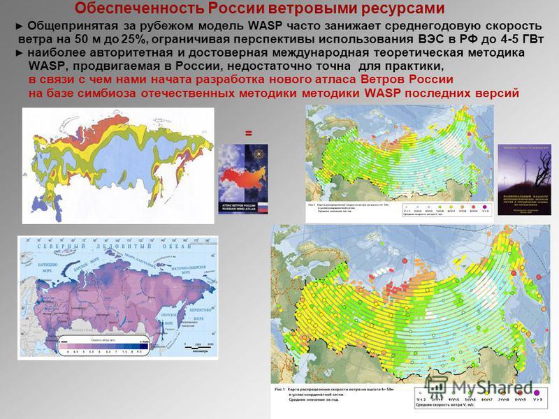 Обеспеченность России ветровыми ресурсами Общепринятая за рубежом модель WASP часто занижает среднегодовую скорость ветра на 50 м до 25%, ограничивая перспективы использования ВЭС в РФ до 4-5 ГВт наиболее авторитетная и достоверная международная теор