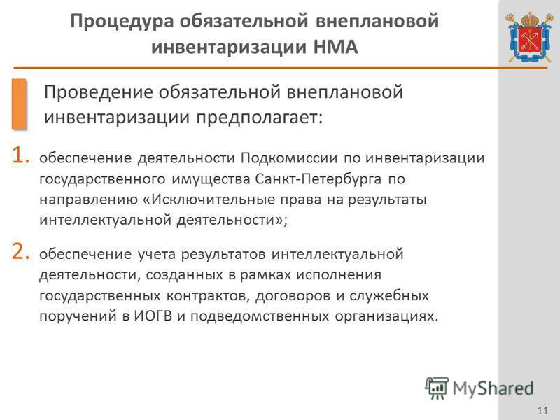 Процедура обязательной внеплановой инвентаризации НМА 11 Проведение обязательной внеплановой инвентаризации предполагает: 1. обеспечение деятельности Подкомиссии по инвентаризации государственного имущества Санкт-Петербурга по направлению «Исключител
