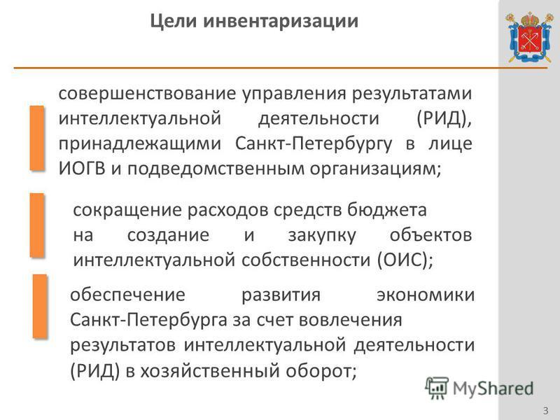 Цели инвентаризации 3 совершенствование управления результатами интеллектуальной деятельности (РИД), принадлежащими Санкт-Петербургу в лице ИОГВ и подведомственным организациям; сокращение расходов средств бюджета на создание и закупку объектов интел