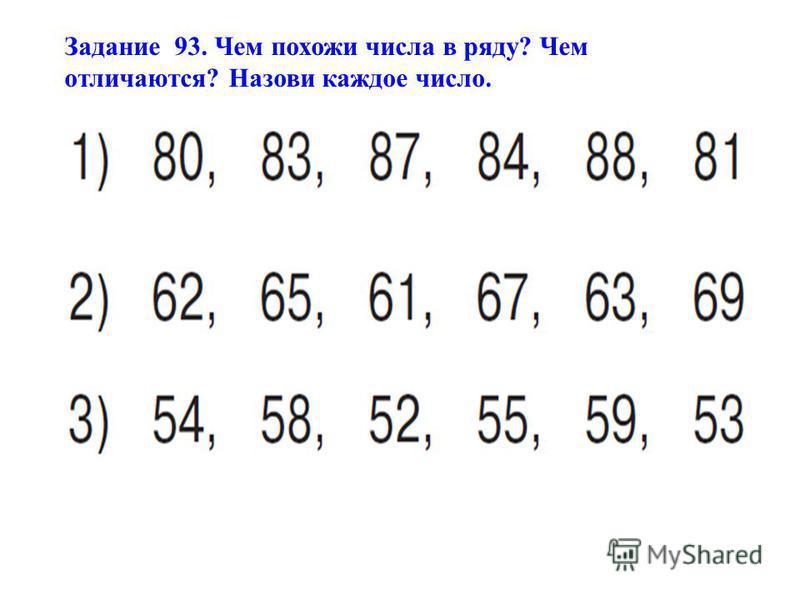 Задание 93. Чем похожи числа в ряду? Чем отличаются? Назови каждое число.