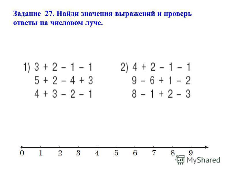 Задание 27. Найди значения выражений и проверь ответы на числовом луче.