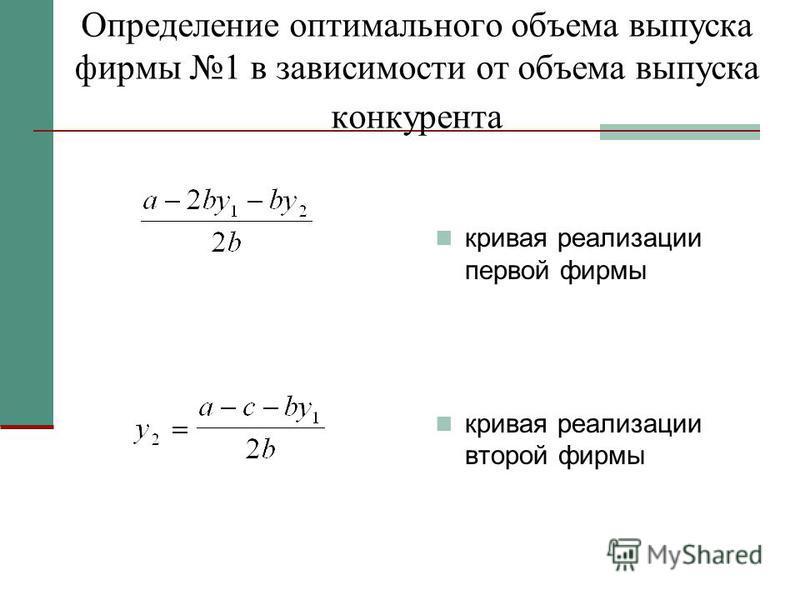 Определение оптимального объема выпуска фирмы 1 в зависимости от объема выпуска конкурента кривая реализации первой фирмы кривая реализации второй фирмы