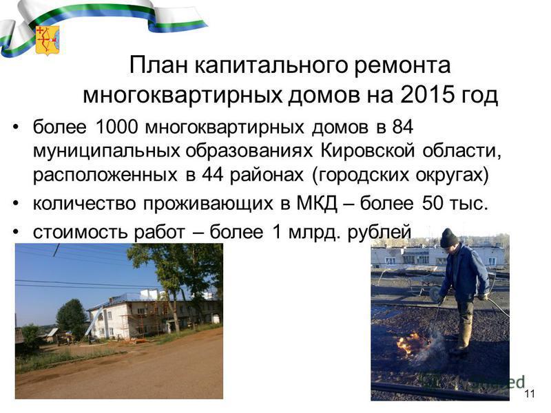 11 План капитального ремонта многоквартирных домов на 2015 год более 1000 многоквартирных домов в 84 муниципальных образованиях Кировской области, расположенных в 44 районах (городских округах) количество проживающих в МКД – более 50 тыс. стоимость р