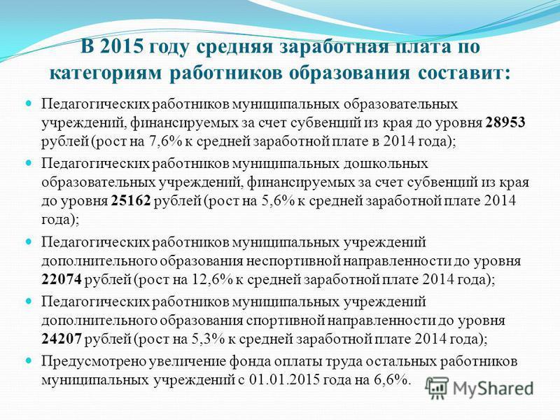 В 2015 году средняя заработная плата по категориям работников образования составит: Педагогических работников муниципальных образовательных учреждений, финансируемых за счет субвенций из края до уровня 28953 рублей (рост на 7,6% к средней заработной