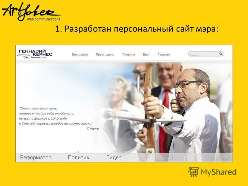 1. Разработан персональный сайт мэра: