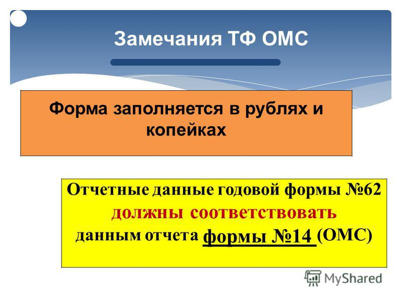 Отчетные данные годовой формы 62 должны соответствовать данным отчета формы 14 ( ОМС ) Замечания ТФ ОМС Форма заполняется в рублях и копейках