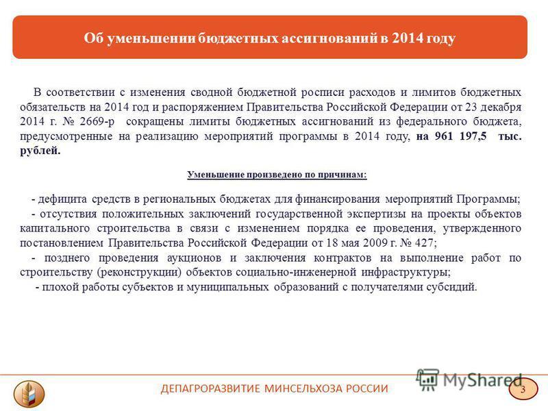Об уменьшении бюджетных ассигнований в 2014 году В соответствии с изменения сводной бюджетной росписи расходов и лимитов бюджетных обязательств на 2014 год и распоряжением Правительства Российской Федерации от 23 декабря 2014 г. 2669-р сокращены лими