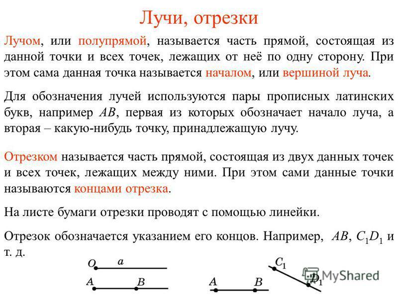 Лучи, отрезки Лучом, или полупрямой, называется часть прямой, состоящая из данной точки и всех точек, лежащих от неё по одну сторону. При этом сама данная точка называется началом, или вершиной луча. Для обозначения лучей используются пары прописных