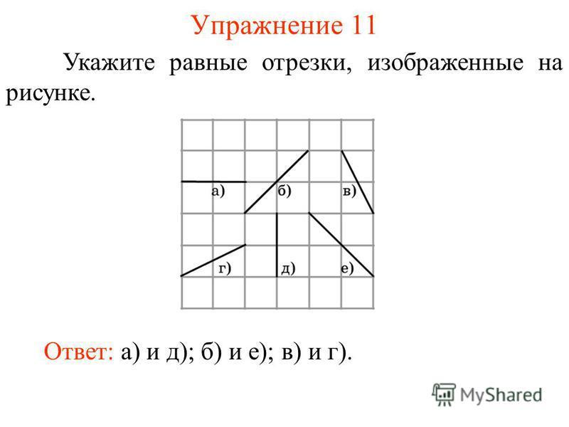 Упражнение 11 Укажите равные отрезки, изображенные на рисунке. Ответ: а) и д); б) и е); в) и г).