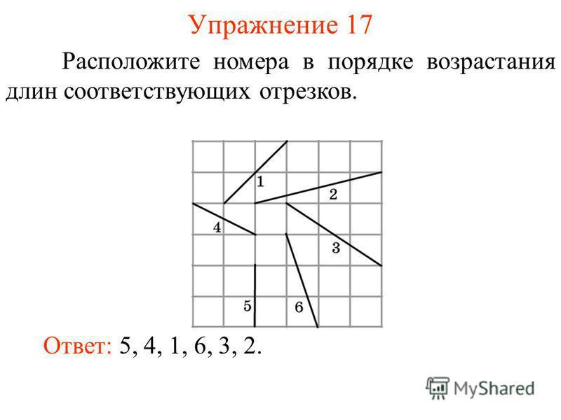 Упражнение 17 Расположите номера в порядке возрастания длин соответствующих отрезков. Ответ: 5, 4, 1, 6, 3, 2.