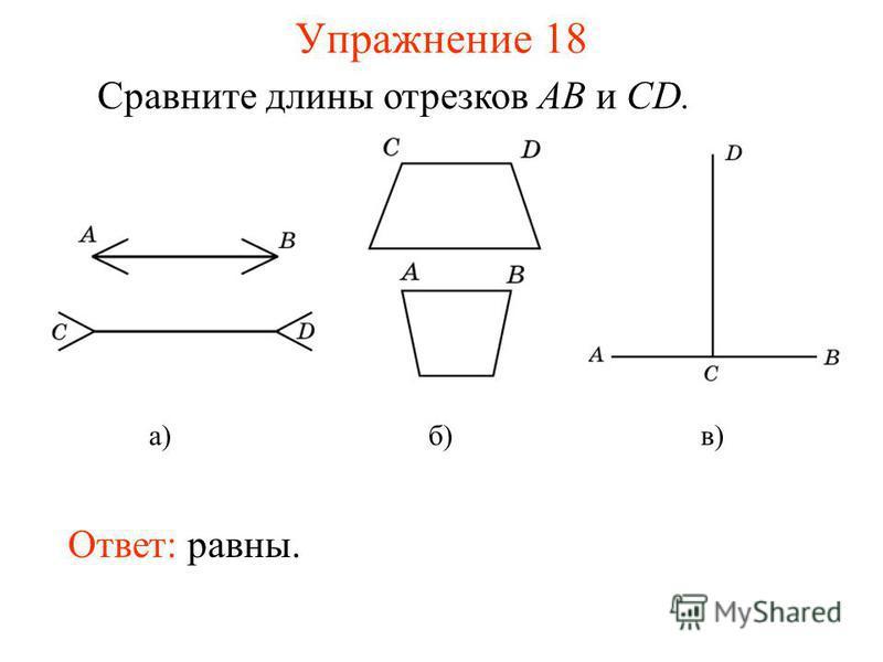 Упражнение 18 Сравните длины отрезков AB и CD. Ответ: равны. а)б)в)