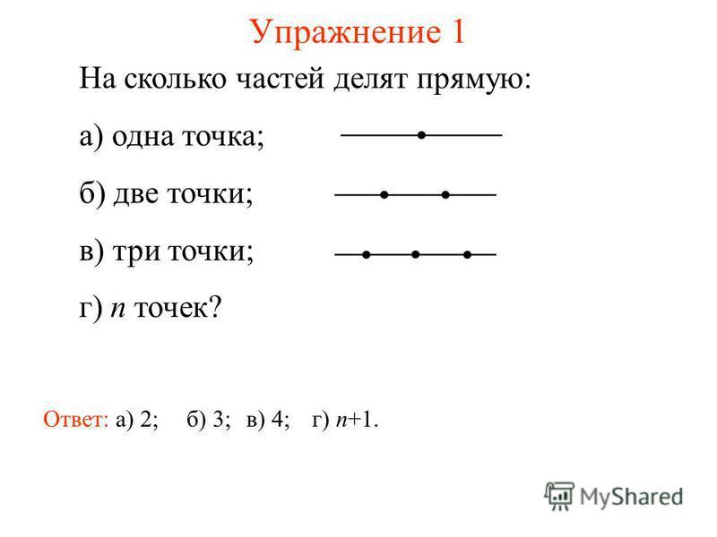 Упражнение 1 На сколько частей делят прямую: а) одна точка; б) две точки; в) три точки; г) n точек? Ответ: а) 2;б) 3;в) 4;г) n+1.