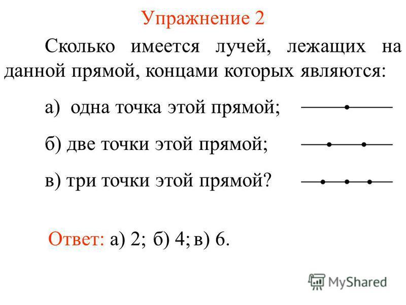 Упражнение 2 Сколько имеется лучей, лежащих на данной прямой, концами которых являются: а) одна точка этой прямой; б) две точки этой прямой; в) три точки этой прямой? б) 4;Ответ: а) 2;в) 6.