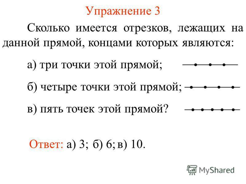 Упражнение 3 Сколько имеется отрезков, лежащих на данной прямой, концами которых являются: а) три точки этой прямой; б) четыре точки этой прямой; в) пять точек этой прямой? б) 6;Ответ: а) 3;в) 10.