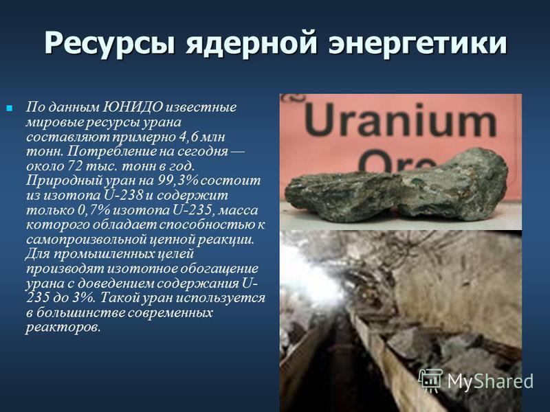 Ресурсы ядерной энергетики По данным ЮНИДО известные мировые ресурсы урана составляют примерно 4,6 млн тонн. Потребление на сегодня около 72 тыс. тонн в год. Природный уран на 99,3% состоит из изотопа U-238 и содержит только 0,7% изотопа U-235, масса