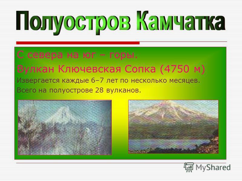 С севера на юг – горы. Вулкан Ключевская Сопка (4750 м) Извергается каждые 6–7 лет по несколько месяцев. Всего на полуострове 28 вулканов.