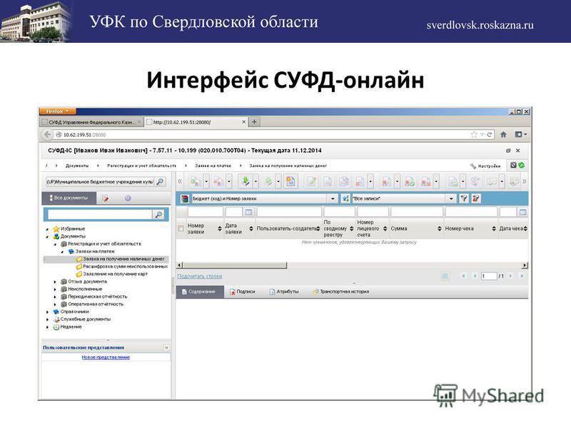Интерфейс СУФД-онлайн