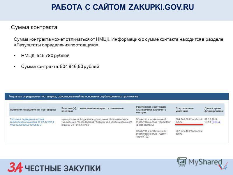 РАБОТА С САЙТОМ ZAKUPKI.GOV.RU Сумма контракта Сумма контракта может отличаться от НМЦК. Информацию о сумме контакта находится в разделе «Результаты определения поставщика» НМЦК: 545 780 рублей Сумма контракта: 504 846,50 рублей