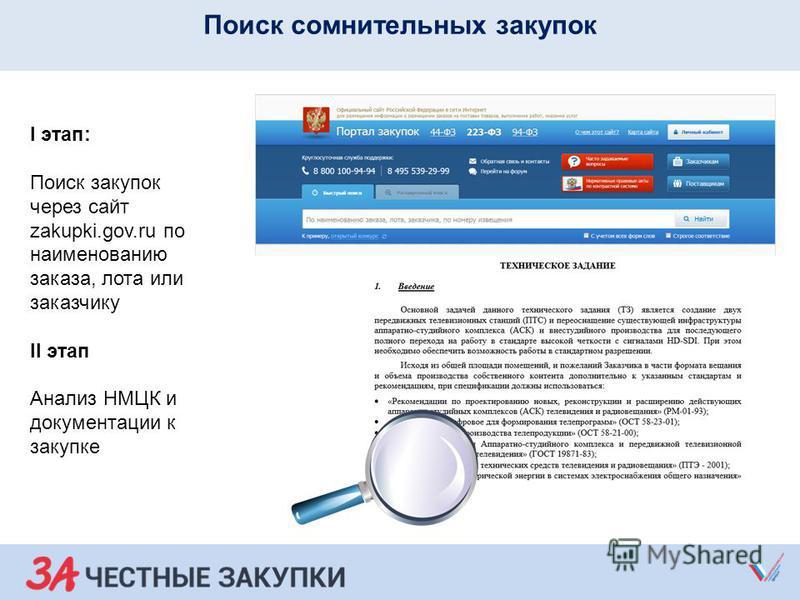 Поиск сомнительных закупок I этап: Поиск закупок через сайт zakupki.gov.ru по наименованию заказа, лота или заказчику II этап Анализ НМЦК и документации к закупке