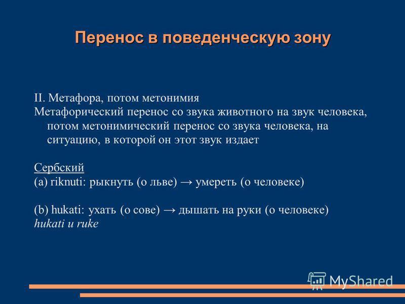 Перенос в поведенческую зону II. Метафора, потом метонимия Метафорический перенос со звука животного на звук человека, потом метонимический перенос со звука человека, на ситуацию, в которой он этот звук издает Сербский (a) riknuti: рыкнуть (о льве) у