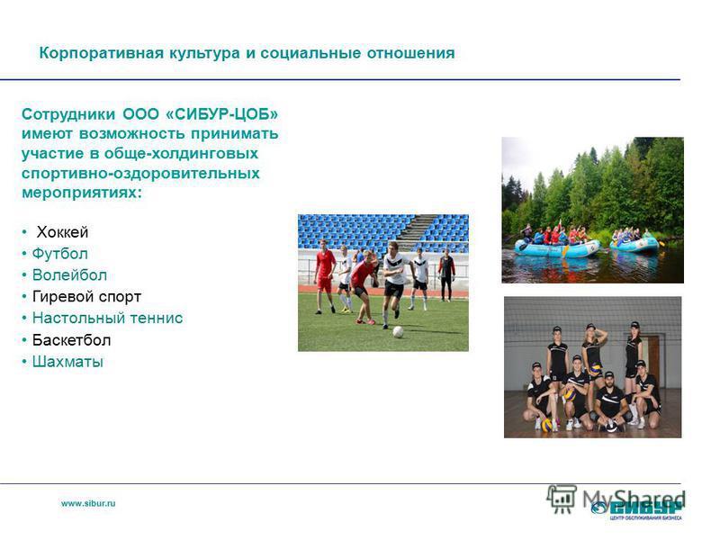 www.sibur.ru Корпоративная культура и социальные отношения Сотрудники ООО «СИБУР-ЦОБ» имеют возможность принимать участие в обще-холдинговых спортивно-оздоровительных мероприятиях: Хоккей Футбол Волейбол Гиревой спорт Настольный теннис Баскетбол Шахм