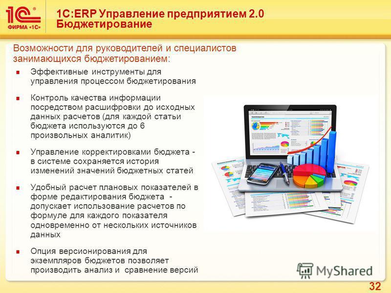 32 Эффективные инструменты для управления процессом бюджетирования Контроль качества информации посредством расшифровки до исходных данных расчетов (для каждой статьи бюджета используются до 6 произвольных аналитик) Управление корректировками бюджета