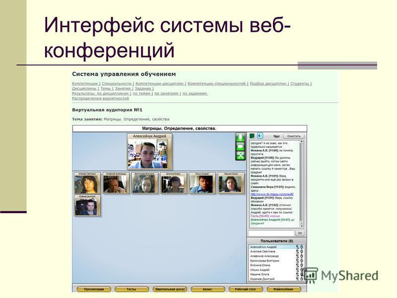 Интерфейс системы веб- конференций