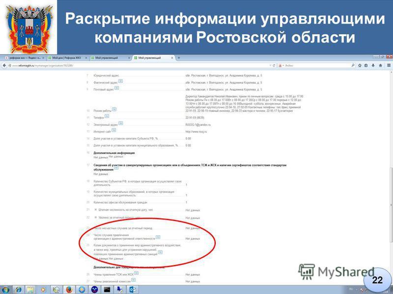 Раскрытие информации управляющими компаниями Ростовской области 22
