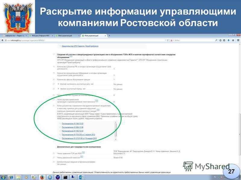 Раскрытие информации управляющими компаниями Ростовской области 27