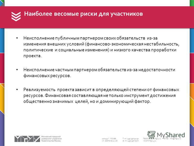 107045, г. Москва, ул. Сретенка, д. 28 Т: +7 (495) 957-91-32 Ф: +7 (495) 957-75-77 facebook.com/mguu.ru vk.com/mguu_ru E-mail: info@mguu.ru Неисполнение публичным партнером своих обязательств из-за изменения внешних условий (финансово-экономическая н
