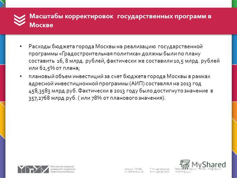 107045, г. Москва, ул. Сретенка, д. 28 Т: +7 (495) 957-91-32 Ф: +7 (495) 957-75-77 facebook.com/mguu.ru vk.com/mguu_ru E-mail: info@mguu.ru Расходы бюджета города Москвы на реализацию государственной программы «Градостроительная политика» должны были