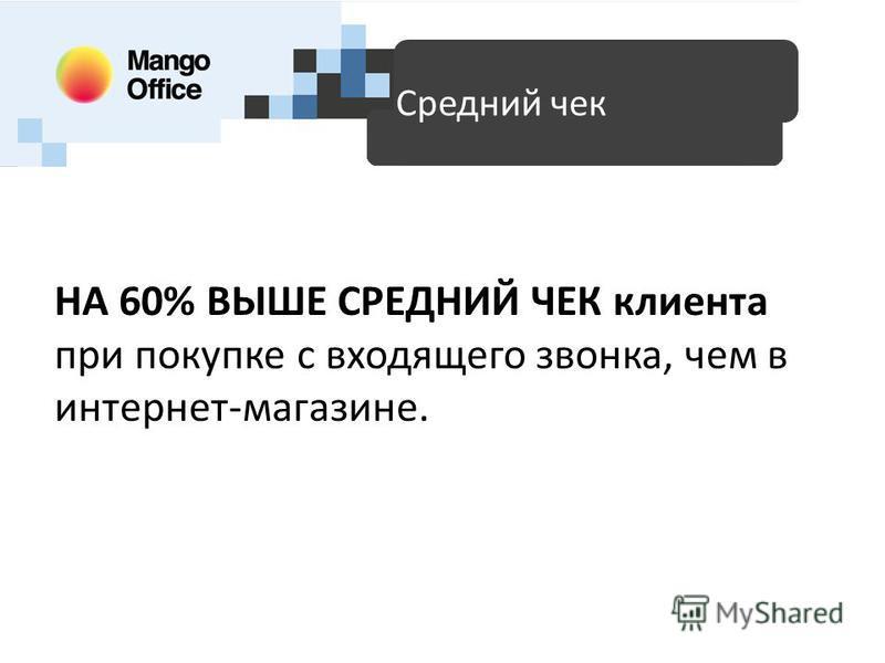 НА 60% ВЫШЕ СРЕДНИЙ ЧЕК клиента при покупке с входящего звонка, чем в интернет-магазине. Доступные технологии для SMB Средний чек