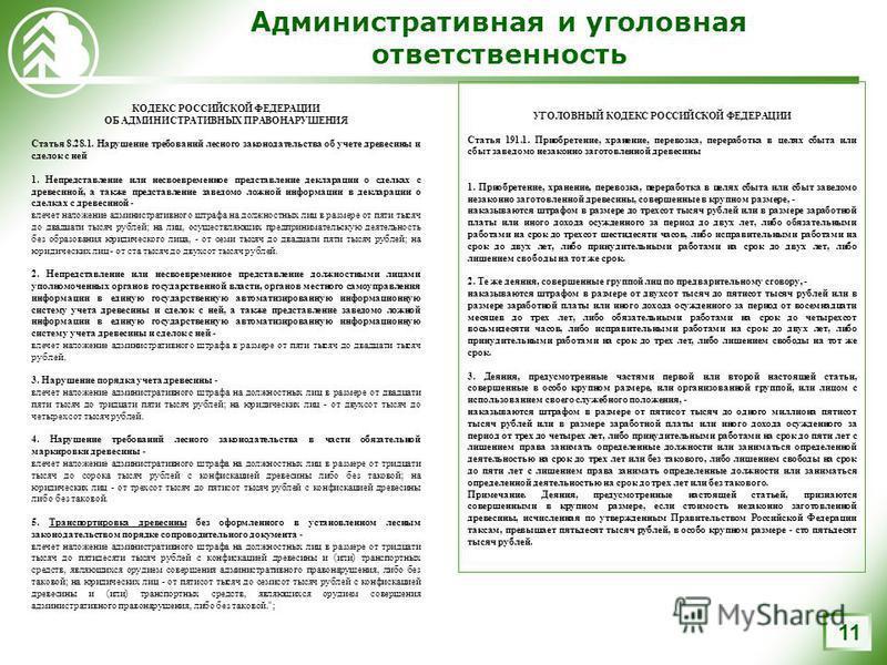 Административная и уголовная ответственность 11 КОДЕКС РОССИЙСКОЙ ФЕДЕРАЦИИ ОБ АДМИНИСТРАТИВНЫХ ПРАВОНАРУШЕНИЯ Статья 8.28.1. Нарушение требований лесного законодательства об учете древесины и сделок с ней 1. Непредставление или несвоевременное предс