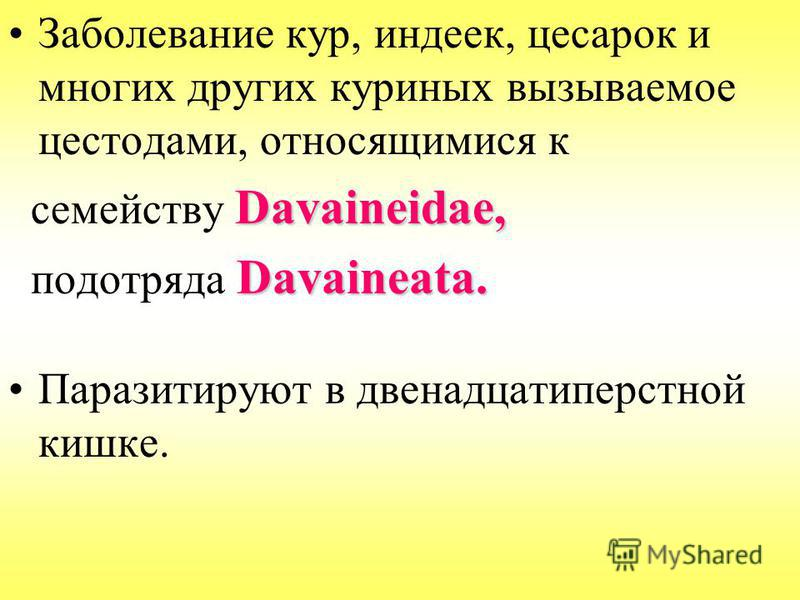 Заболевание кур, индеек, цесарок и многих других куриных вызываемое цестодами, относящимися к Davaineidae, семейству Davaineidae, Davaineata. подотряда Davaineata. Паразитируют в двенадцатиперстной кишке.