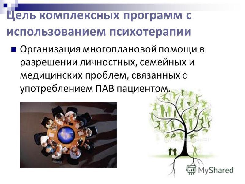Цель комплексных программ с использованием психотерапии Организация многоплановой помощи в разрешении личностных, семейных и медицинских проблем, связанных с употреблением ПАВ пациентом.