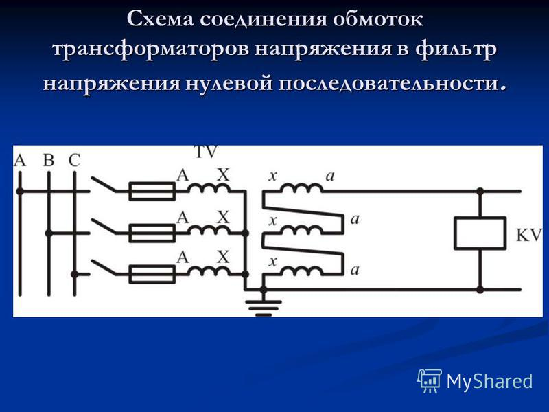 Схема соединения обмоток трансформаторов напряжения в фильтр напряжения нулевой последовательности.