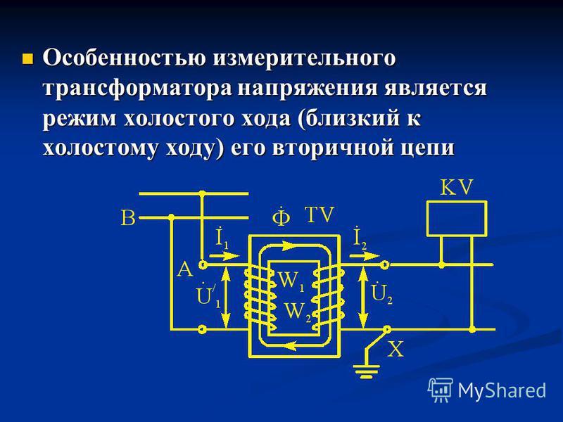 Особенностью измерительного трансформатора напряжения является режим холостого хода (близкий к холостому ходу) его вторичной цепи Особенностью измерительного трансформатора напряжения является режим холостого хода (близкий к холостому ходу) его втори