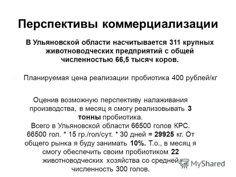 Перспективы коммерциализации Планируемая цена реализации пробиотика 400 рублей/кг В Ульяновской области насчитывается 311 крупных животноводческих предприятий с общей численностью 66,5 тысяч коров. Оценив возможную перспективу налаживания производств